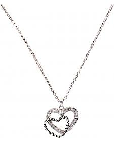 Montana Silversmiths Roped Rhinestone Double Heart Necklace
