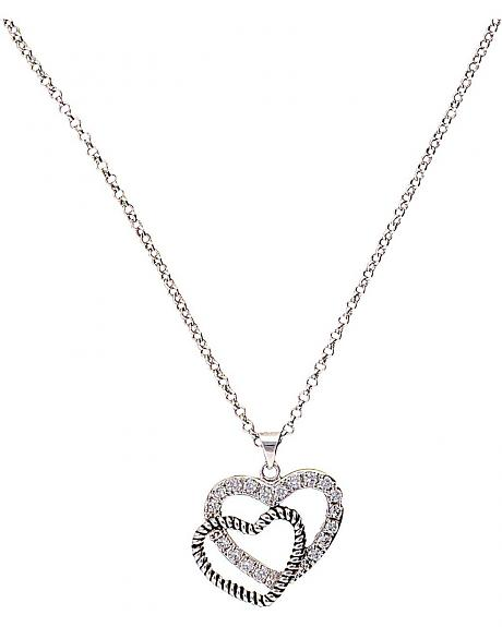 Montana Silversmiths Roped Rhinestone Double Heart Necklace