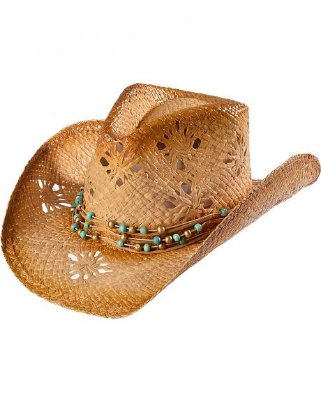 Tropical Trends by DPC Beaded Band Straw Cowgirl Hat