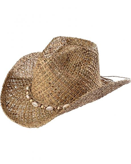 Tropical Trends by DPC Shell Beaded Seagrass Straw Cowgirl Hat