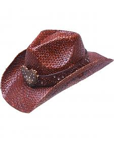 Peter Grimm Flint Metal Heart Bling Brown Straw Cowgirl Hat