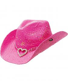 Peter Grimm Heart Attack Pink Straw Cowgirl Hat