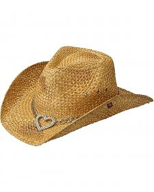 Peter Grimm Heart Attack Tan Straw Cowgirl Hat