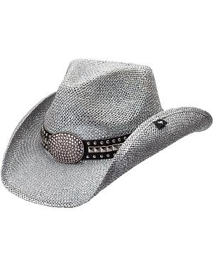 Peter Grimm Gila Bling Oval Buckle Hat Band Straw Cowgirl Hat