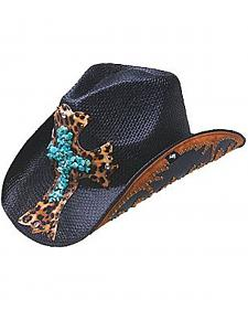 Peter Grimm Zeke Leopard Print Cross Black Straw Cowgirl Hat