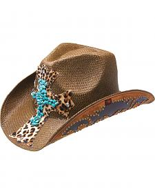 Peter Grimm Zeke Leopard Print Cross Brown Straw Cowgirl Hat