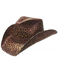 Peter Grimm Rowdy Leopard Print Straw Cowgirl Hat