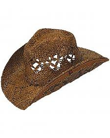 Peter Grimm Jarales Faux Snakeskin Hat Band Straw Cowgirl Hat