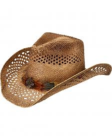 Peter Grimm Shawnee Feather Hat Band Straw Cowgirl Hat
