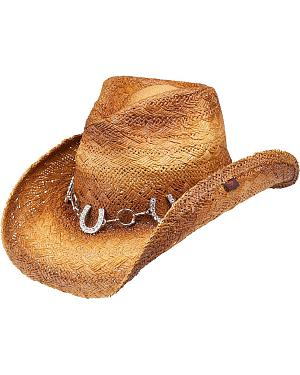 Peter Grimm Judson Horseshoe Chain Straw Cowgirl Hat