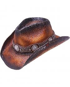 Peter Grimm Cash Studded Band Straw Cowgirl Hat
