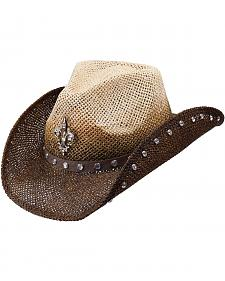 Peter Grimm Country Jazz Fleur-de-lis Brown Straw Cowgirl Hat