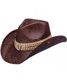 Peter Grimm Corbett Bling Cross Straw Cowgirl Hat