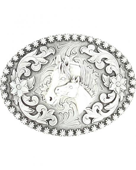 Silver-tone Floral & Mare Belt Buckle