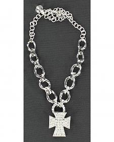 Blazin Roxx Sparkly Cross Charm Chain Boot Bracelet