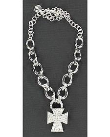 Blazin Roxx Sparkly Cross Charm Chain Boot Bracelet