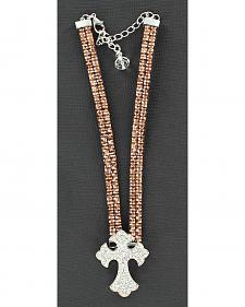 Blazin Roxx Sparkly Cross Charm Brown Rhinestone Boot Bracelet