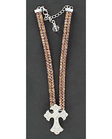 Blazin Roxx Sparkly Cross Charm Brown Rhinestone Boot Bracelet