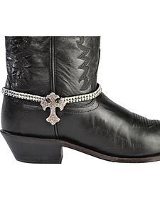 Blazin Roxx Sparkly Cross Charm Clear Rhinestone Boot Bracelet