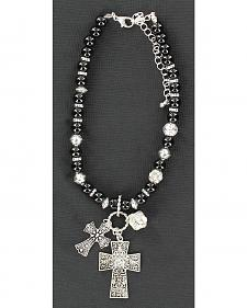 Blazin Roxx Black Beaded Cross Charm Boot Bracelet