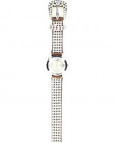 Faux Leather Rhinestone Watch