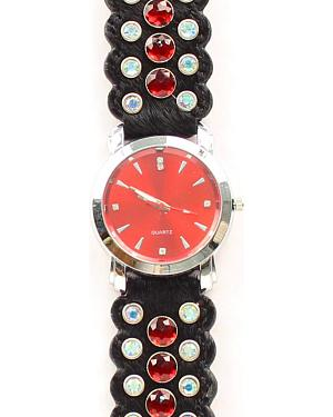 Black Hair-on-Hide Red Rhinestone Watch