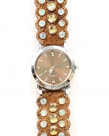 Brown Hair-on-Hide Rhinestone Watch