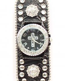 Black Floral Embossed Rhinestone & Concho Watch