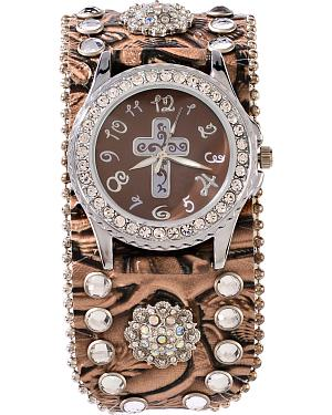 Brown Floral Embossed Rhinestone & Concho Watch