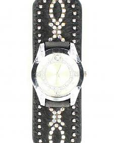 Black Hair-on-Hide Crystal Watch