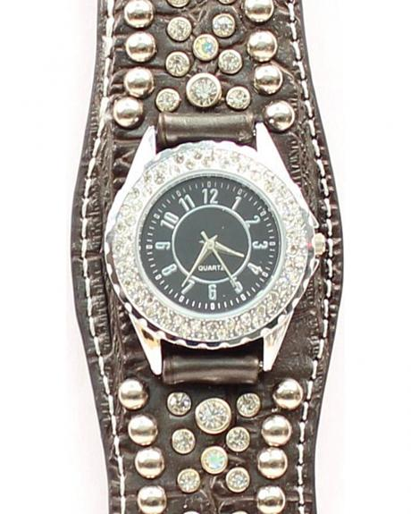 Scalloped Black Croc Print Crystal Watch