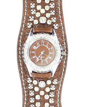 Scalloped Brown Croc Print Crystal Watch