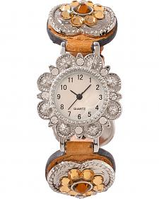 Fancy Rhinestone Heart Concho Watch