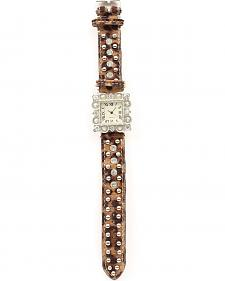 Leopard Print Hair-on-Hide Studs & Rhinestones Watch