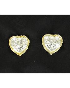 Lightning Ride Silver & Gold Tone Heart Earrings