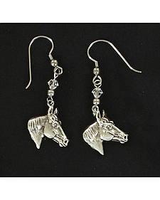 Lightning Ridge Silver Tone Horse Head Earrings