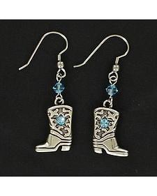 Lightning Ridge Cowgirl Boot Blue Rhinestone Earrings