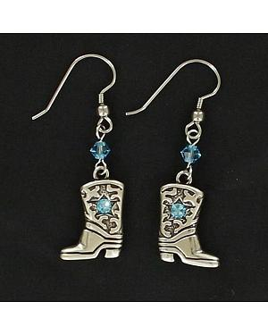 Lightning Ridge Cowgirl Boot Blue Rhinestone Earrings