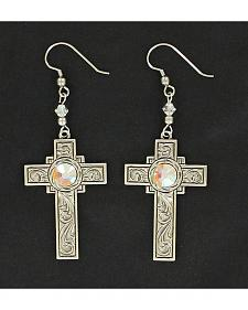 Lightning Ridge Engraved Cross & Iridescent Rhinestone Earrings