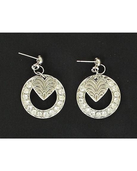 Lightning Ridge Rhinestone Circle & Heart Charm Earrings