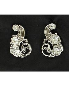 Lightning Ridge Rhinestone Embellished Scrolling Earrings
