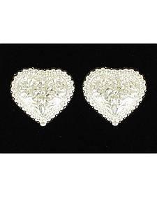 Lightning Ridge Engraved Heart Earrings