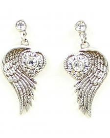 Lightning Ridge Wing & Rhinestone Heart Earrings