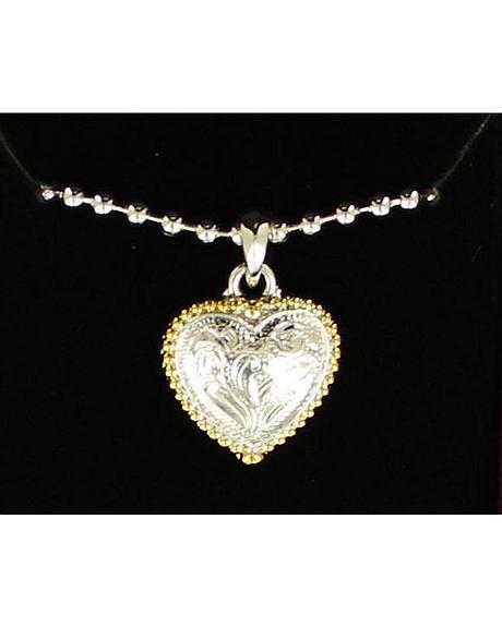 Lightning Ridge Beaded Edge Heart Charm Necklace