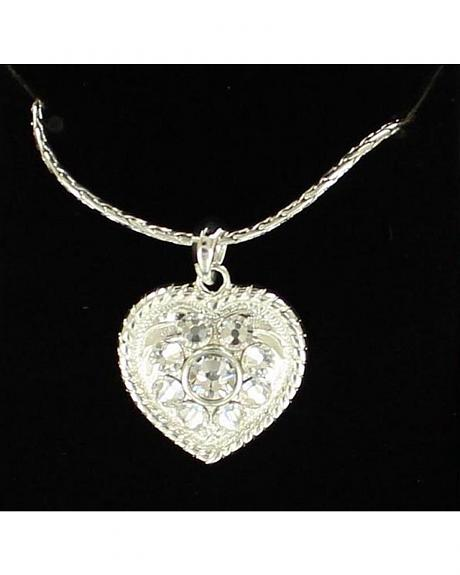 Lightning Ridge Roped Edge Rhinestone Heart Charm Necklace