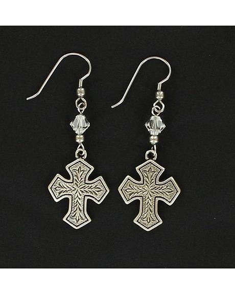 Lightning Ridge Fancy Engraved Cross Earrings