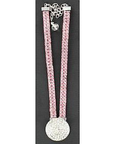 Blazin Roxx Pink Crystal Round Charm Boot Bracelet