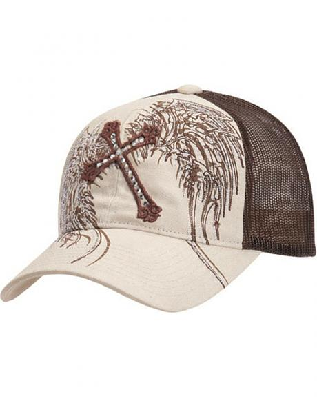 Cross & Wing Embroidered Mesh Cap