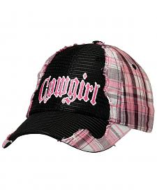 "Pink Plaid & Black Mesh ""Cowgirl"" Hat"