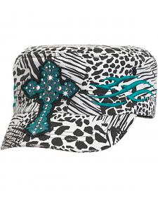Blazin Roxx Embroidered Cross Patch Animal Print Cap